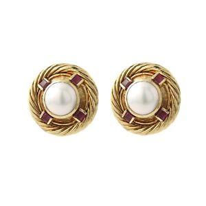 David Yurman Button Cable Earrings Maube Pearl/Ruby 14K Yellow Gold