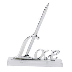 Wedding Venue Guest Book/Registry Signature Pen w/ Love Sign Pen Stand Set