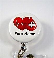 ID BADGE REEL RETRACTABLE,BLOOD BANK,VOLUNTEER,RED CROSS,NURSE RN,ICU,ER,LAB