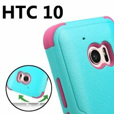 for HTC 10 - TEAL / HOT PINK Hybrid Hard & Soft Rubber Armor Phone Case Cover