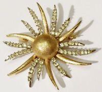 broche bijou vintage soleil strié cristaux diamant couleur or qualité * 4717