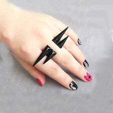 Vintage Black Gothic Punk Rivet Puncture Two Finger Ring Statement Jewelry r529