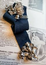 """12"""" Vtg Butterfly Floral Fine Pewter Suede Bookmark Signed Handcrafted Canada"""