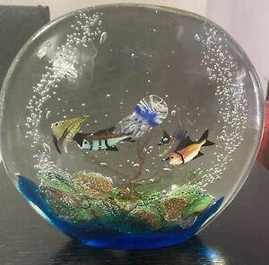 "LARGE 10""x10"" Splendid MURANO Colorful FISH AQUARIUM Art Glass SCULPTURE"