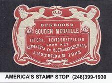 Netherlands Poster Stamp/Label/Cinderella - Gold Medal Coffee, Amsterdam 1908*