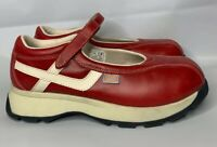 Vintage CANDIE'S Red White Leather Mary Jane Sneakers Shoes Adjustable Strap 8 M