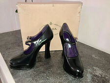 luxueux escarpins plateforme cuir noir/violet PRADA pointure 36 neufs en boite