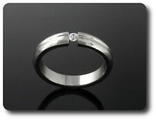 anello da uomo acciaio + 1x2 mm DIAMANTE CZ taglia 54