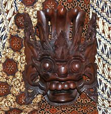 Vintage Aged Hand Carved Wood Bali Balinese Barong Mask 3 Pounds Free Shipping C