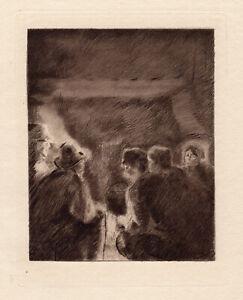 "Intense Camille Pissarro 1892 Limited Edition Etching ""Prayer Vigil"" Framed COA"