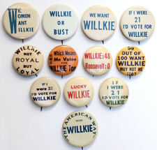 1940 Campaign Wendell Willkie Slogan Buttons ~ Lot of 12