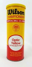 Vtg Wilson Championship Optic 3 Yellow Tennis Balls Can Sealed Metal Made Usa