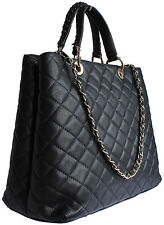 DESIGNER ITALIAN BLACK REAL GENUINE QUILTED LEATHER LARGE CHAIN HANDBAG BNT