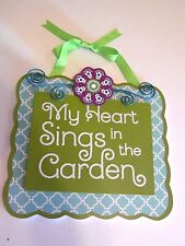 Wood Green Purple Turquoise Garden Sign Spring Summer House Beach Decoration