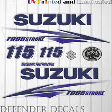Suzuki 115hp Four Stroke outboard engine decal sticker set kit reproduction BLUE