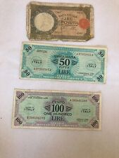 More details for 3x italy banknote 100 50 50 1943