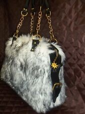 BAG FROM FAUX FUR WITH REAL LEATHER and STRAP LEATHER FAST SHIPPING : 5-10 DAYS