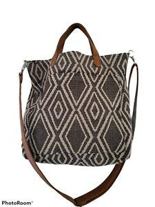 THIRTY ONE Window Shopper Bag Geo Weave Design LK NU Gray Ivory
