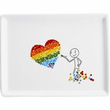 Crate & Barrel CB2 OLIVER APPETIZER PLATE ~ RAINBOW CANDY HEART! PRIDE! RETIRED!