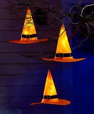 SET OF 3 LIGHTED WITCH HAT HANGING TREE OUTDOOR HALLOWEEN HOME DECOR