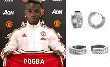 Men's/Boy's: Man Utd POGBA 18ct White Gold Plated Diamond Effect Huggie Earrings