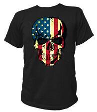 T-Shirt 17615 USA SKULL Totenkopf Flagge Stars US Stripes Sterne Patriot Biker