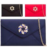 Ladies Diamante Faux Suede Clutch Bag Envelope Evening Bag Party Handbag KL2128