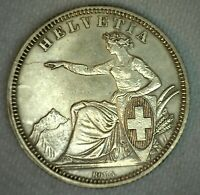 1861 B Switzerland Franc Coin Silver Almost Uncirculated