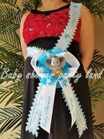 Baby Shower Mom To Be It's a Boy Sash Elephant Safari Blue Ribbon Corsage Noah's