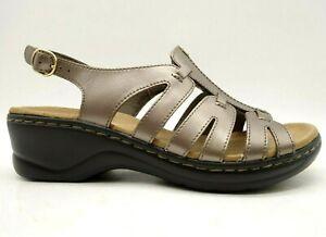 Clarks Bronze Leather Slingback Buckle Slip On Heel Sandals Shoes Women's 8.5 W