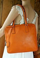 $1798~PRADA~Orange Tangerine Leather Square Purse Bag Satchel Lock Key Hobo Tote