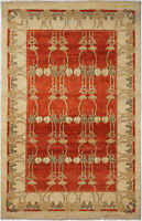 4X6 Hand-Knotted Gabbeh Carpet Tribal Red Fine Wool Area Rug C1399