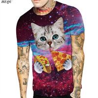 Womens Mens Space Galaxy Tacos Cat Pizza 3D Print T-Shirt Casual Funny Tee Tops