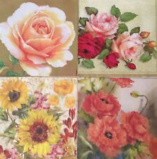 set of 4 NAPKINS DECOUPAGE ART COLLECTIBLE FLORAL ROSE POPPY SUNFLOWER