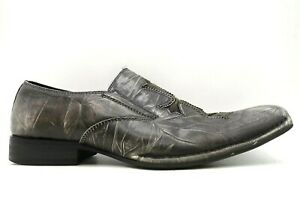 Aldo Kaman Gray Distressed Leather Cross Inlay Slip On Loafers Shoes Mens 41 / 8