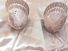 New Set of 2 White Glazed Ceramic Turkey Salt And Pepper Shakers