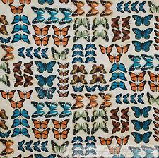 BonEful Fabric Cotton Quilt Cream Teal Blue Orange Brown Butterfly Monarch SCRAP