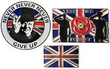 WW2 NEVER GIVE UP Winston Churchill GB Flag & Lest We Forget Enamel Badges Set