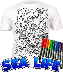 Splat Planet Colour-in Sea Life T-Shirt with 10 Non-Toxic Washable Magic Pens