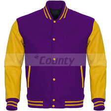 Bomber Varsity Letterman Baseball Jacket Purple Body & Yellow Leather Sleeves
