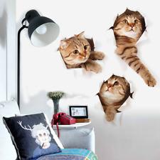 3D Cute Cat Vinyl Home Room Decor Art Wall Decal Sticker Bedroom Removable Mural