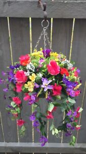 New Pinks/purple Trailing Artifical Flower Hanging Basket Ready To Hang Garden