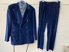 Gucci Supreme Vintage Mens Runway Blue Velvet Double Breasted Suit Sz 44 R