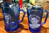 Vintage 1930's SHIRLEY TEMPLE Cobalt Blue Glass Set: Mug and Milk Pitcher