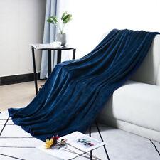 """Plush Flannel Fleece Blanket Warm Lightweight Throw Travel Navy Blue 50x60"""""""
