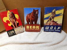 LOT OF 3 WOLF, BEAR & LION/WEBELOS  CUB SCOUT BOOK  VINTAGE 1954, 1961 & 1959