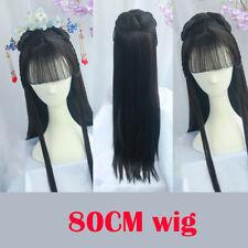 Alert 80cm Black Long Vintage Hair Chinese Ancient Dynasty Hair Cosplay Ancient Chinese Hair Anime Long Hair Warrior Cosplay Costumes & Accessories