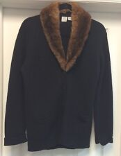 TSE Black 100% Cashmere Cardigan Sweater Brown Real Fur SZ L