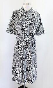 NWT Ann Taylor Black White Bold Paisley Floral Print Short Sleeve Shirt Dress 14