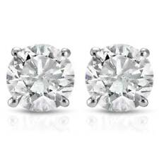 1 / 2 Ct Natural Diamonds Stud Earrings 14k White Gold Basket Setting Round Real
